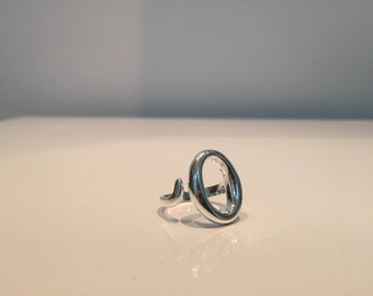 Oval hollow sterling silver ring adjustable very unique