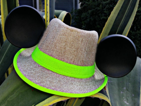 Summer Mickey Ears. Neon Hat. Yellow and Tan Fedora