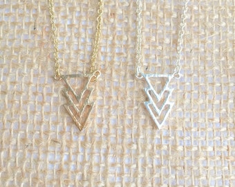 Three triangles necklace, chevron dainty necklace, gold or silver