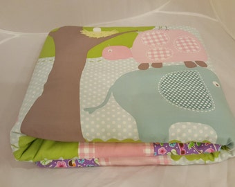 Baby Blanket - Baby Comforter - Baby Quilts - Toddler Blanket - Toddler Comforter - Toddler Quilts - Elephant and Friends *R6*