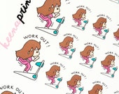 A043 | WORKOUT KEENACHI Repositionable Stickers Perfect for Erin Condren Life Planner, Filofax, Plum Paper & other planner or scrapbooking