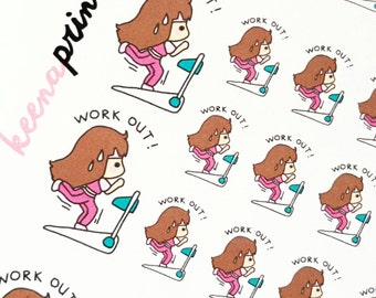 A043 | WORKOUT KEENACHI Repositionable Stickers Perfect for Erin Condren Life Planner, Filofax, ...