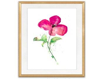 Watercolor Flower Art, Painting Watercolor Flower, Flower Illustration, Nature Home Decor - 106