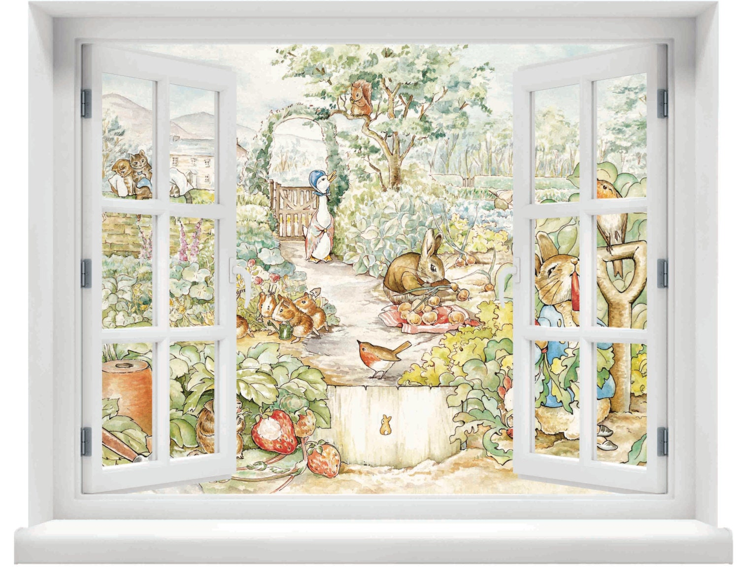 Window with a view beatrix potter peter rabbit scene wall for Wall scenes