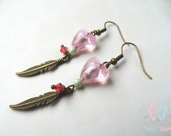 Boho earrings, ethnic earrings, pink earrings, heart earrings, feather earrings