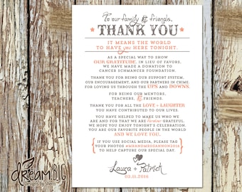Rustic Wedding Thank You Card - Personalized - Printable DIY JPEG or PDF