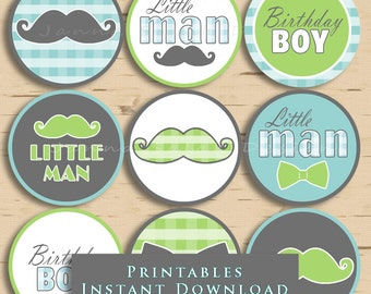 Little Man Birthday Cupcake Toppers Green and Blue Mustache Party Printables Mustache DIY Printable INSTANT DOWNLOAD
