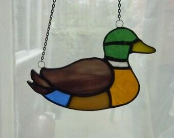 Stained glass Wild duck suncatcher