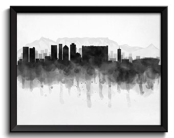 Cape Town Skyline South Africa Cityscape Art Print Poster Black White Grey Watercolor Painting