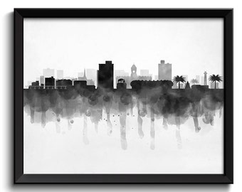Port Elizabeth Skyline South Africa Cityscape Art Print Poster Black White Grey Watercolor Painting