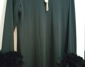 Victor Costa Black Lounger Gown with Ostridge Feather Cuffs. Size 16