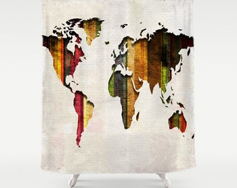 World Map Shower Curtain Stripes on Fabric Bathroom Decor