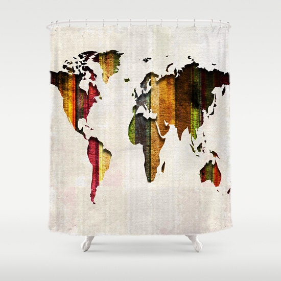 World Map Shower Curtain Stripes on Fabric Bathroom Decor