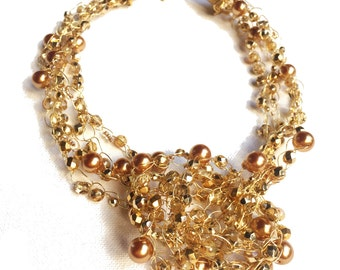Golden Nest - Wire Crochet Necklace with Various Gold Beads