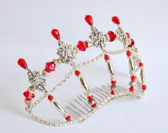 Red silver rhinestone handmade crystal tiara, bridal tiara, dancer tiara, silver tiara, red tiara, wedding tiara, hens tiara