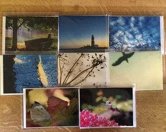 Pack of 6 assorted A6 cards, selected from my A6 photographic card range. Blank for your own message.