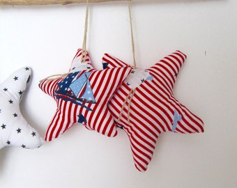 SET of 2 Starfish in Handmade, Nautical Decoration, Home decoration, red white striped, Nursery Decoration