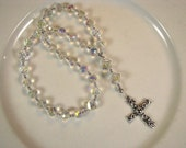 Anglican Prayer Beads-Rosary-Clear Crystal-with Silver Cross