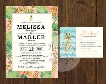 Tropical Wedding Invitation, Pineapple Wedding Invitation, Beach Wedding Invite, Hawaiian Wedding Invite, Destination Wedding Invitation