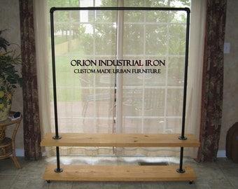 """Industrial Clothing Rack 60"""" (Honey), Industrial Garment Rack, clothing storage, rustic furniture, vintage"""
