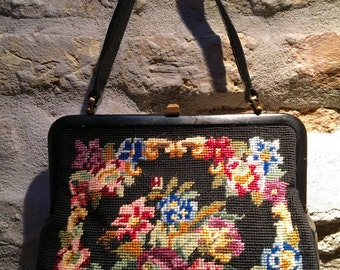 1960's floral tapestry and leather handbag.