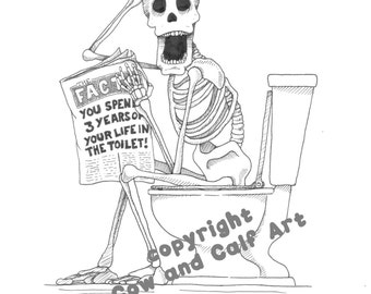 """ORIGINAL """"Skeleton Toilet"""" Drawing, or 1 of 5 Limited Edition Prints; Funny Bathroom Art, Original Ink, Toilet Fact, Unique Gift!"""
