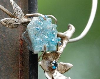 Originally designed - Aqua Aura and blue topaz flower necklace - Unique sterling silver necklace - One of a kind- Gem stone necklace