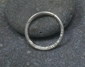 Sterling silver septum ring,hammered septum piercing ring,tiny septum ring,nose septum ring,septum ring,septum 20g,septum 18g,septum 16gauge