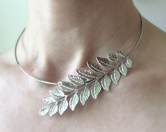 Silver Laurel Leaf necklace Grecian necklace Asymmetrical abstract necklace toga party laurel leaf jewelry statement necklace leaf necklace