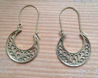 Filigree Brass Earrings, Tribal Earrings, Tribal Brass Earrings, Ethnic Jewelry