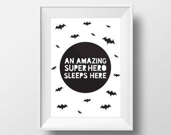 Superhero Decal, Printables, Superhero Wall Art, Batman Party, Batman Print, Superhero Print,  Batman Wall Art, Modern Wall Art