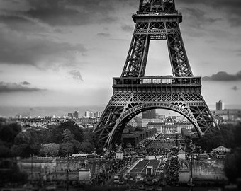 Eiffel tower photography, black and white paris print, paris home decor, fine art photograph, french wall art, architecture home decor