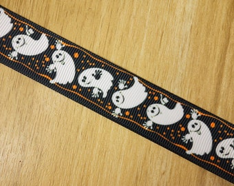 """7/8"""" Halloween White Ghost Halloween Holiday Printed Grosgrain Ribbon Bows HairBows Craft Supplies"""