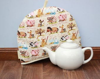 farm yard tea cosy, farm yard tea cozy, chicken cosy, pig cosy, horse cosy, cow cosy