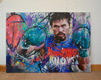 "Manny Pacquiao, Original, Painting, 60"", Worldwide Shipping, Art, Boxing, Graffiti, Richard Day"