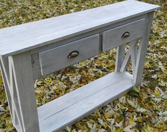 """White console table,console table with drawers ,console table,long console table,wood console table ,narrow console""""Rhapsody falling leaves"""""""