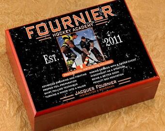 Personalized Cigar Humidor - Cigar Box Case Humidifier - Hockey Academy