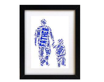 Personalised Father's Day Gift Print, Word Art Father and Child Picture