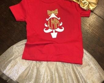 Little girl monogram christmas shirt