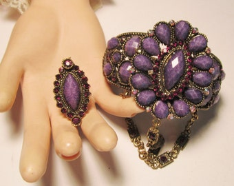 Vintage Purple Cuff Bracelet and Matching Ring            (#438)