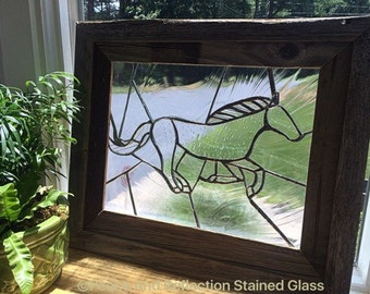 Framed Horse Stained Glass Panel