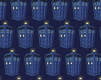 BBC Doctor Who Tardis Knit Fabric - Blue - Sold by the 1/2 Yard