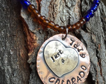 Beaded Necklace With Hand Stamped Pendant