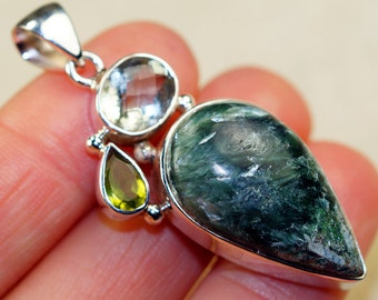 Seraphinite with Green Amethyst and Peridot  & 925 Sterling Silver Pendant