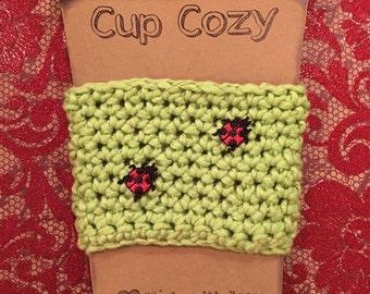 Cup Holder, Ladybugs, Cup Cozy, Coffee Cup Cozy, Green Cup Cozy, Gift, Handmade, Party Favor, Crochet Cozy, summer drinkware