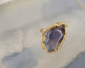 14k Gold Plated Adjustable Geode Ring