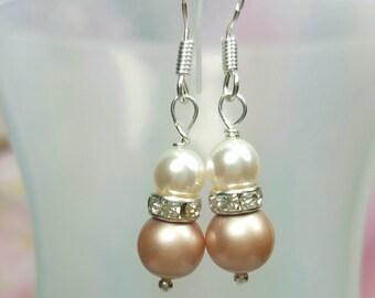 Champagne Bridal Pearl Earrings, White or Cream Crystal Earing, Bridesmaid Swarovski Pearl Earrings, Champagne Almond Bridal Wedding
