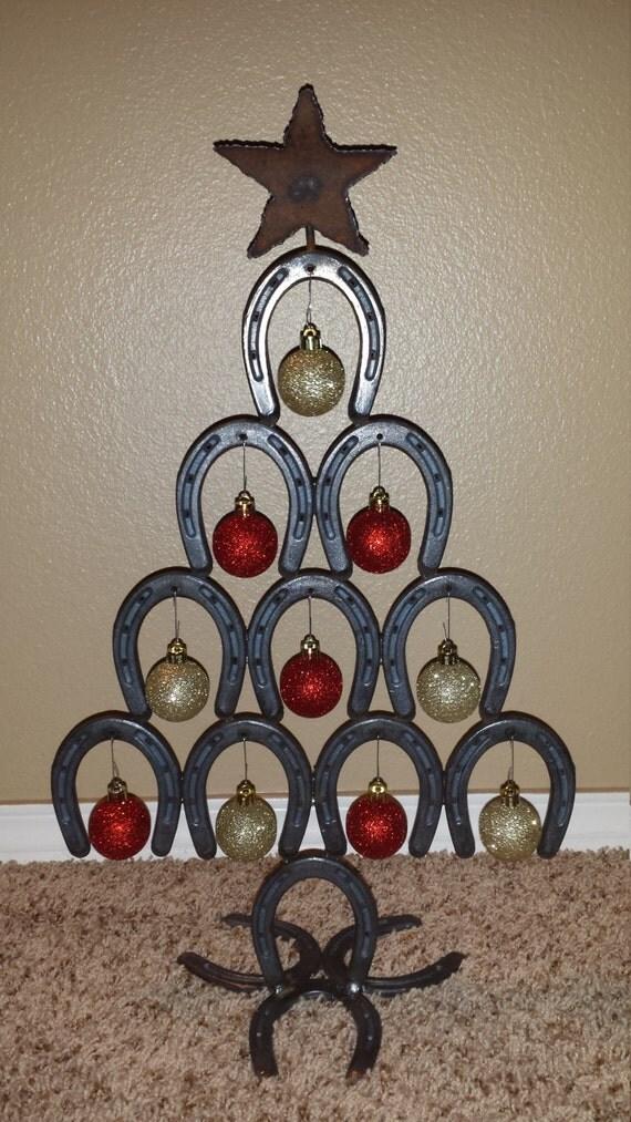 Items similar to mini horseshoe christmas tree on etsy for Christmas tree made out of horseshoes