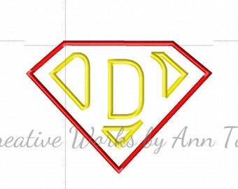 I Am Super Letter D Alphabet Applique