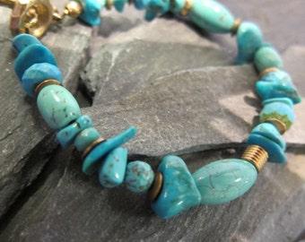 "Bracelet ""Tera"" by Stephane de Blaye, Genuine Turquoise , Howlite turquoise."